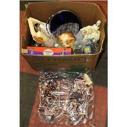 BOX OF VINTAGE ESTATE THUMBPRINT GLASS ORNAMENTS