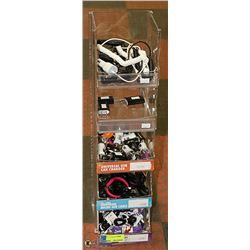 DISPLAY WITH ASSORTED CELL PHONE CHARGERS