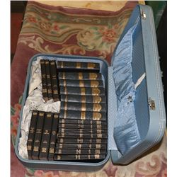 VINTAGE SUITCASE WITH VINTAGE BOOKS, INCLUDES