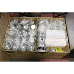 2 BOXES TAKE OUT CONTAINERS, BAGS, STRAWS & CUPS