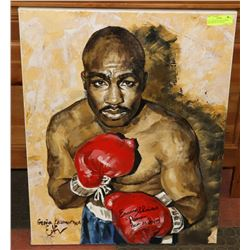 26 X 30 BOXING LEGEND EARNIE SHAVERS OIL ON CANVAS