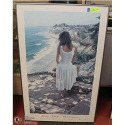 "STEVE HANKS FRAMED PICTURE- ""WOMAN BY OCEAN"""