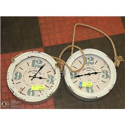 LOT OF 2 NEW ERA PARIS METAL WALL CLOCKS