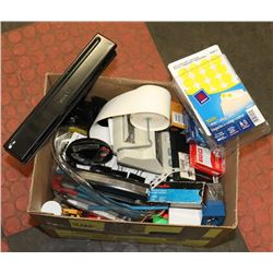 BOX OF OFFICE SUPPLIES & PRICING GUNS