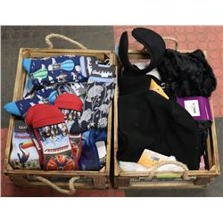 2 WOODEN CRATES WITH GOODLUCK SCARVES, SOCKS &