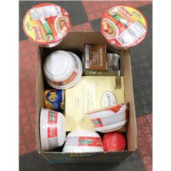 BOX OF NEW COFFEE, TEA, NOODLE BOWLS & KD