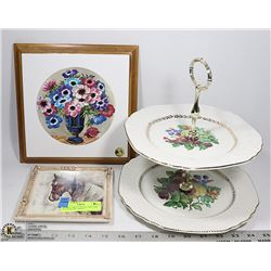 FLORAL TRIVET PLATE, TWO TIER PLATTER AND SMALL