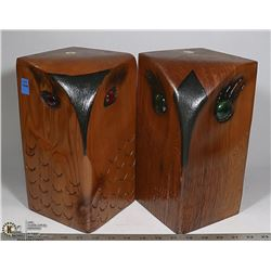 PAIR OF WOOD CARVED OWL BOOKENDS