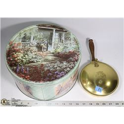 DECORATIVE TIN SOLD WITH VINTAGE BRASS LIDDED PAN