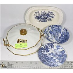 1930 DISH PLUS 1913 BOWL WITH LID AND ANTIQUE BOWL
