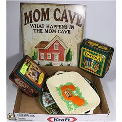 MOM CAVE SIGN, 1930 DISH, ANTIQUE TRAY AND