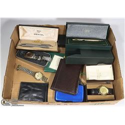 BOX OF VINTAGE WATCHES , PENS AND MORE