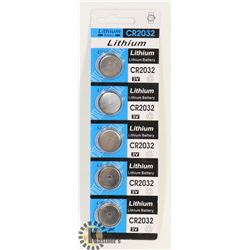 PACK OF 5 NEW CR2032 LITHIUM BATTERIES