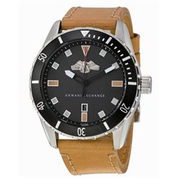 NEW ARMANI EXCHANGE BLACK DIAL TAN LEATHER STRAP