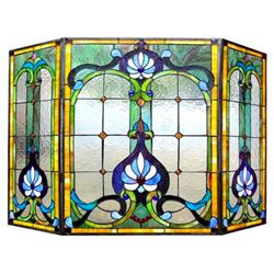 Tiffany-style Stained Glass Folding Fireplace Screen