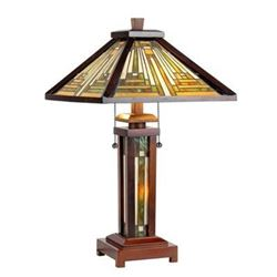 Mission Style Double Lit Wooden Art Glass Table Lamp