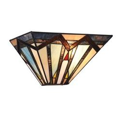 Mission-style Textured Art Glass Wall Sconce