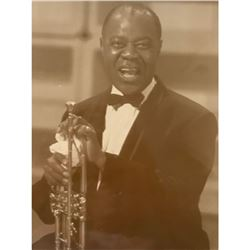 "Vintage Louis ""Satchmo"" Armstrong With Trumpet Septia Tone Photo Print"