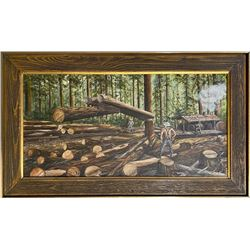 Oil Painting of Early Loggers