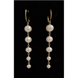 14kt yellow gold and cultured freshwater pearl drop earrings.