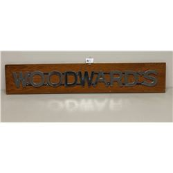 "Woodward's Chrome and Wooden Sign. Hung in the Lunchroom at Woodwards.52.5"" x 10""  x 2"""