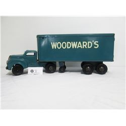 "Lincoln Toys Pressed Steel Woodward's Truck. 22.75"" L x 5.85""w x 8.25"" H"
