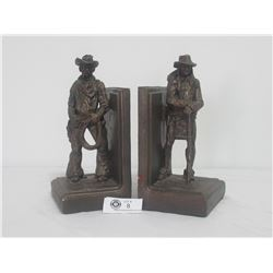Rare Set of Daniel Monfort Bronzed Bookends 1990 Cowboy and Indian Scout
