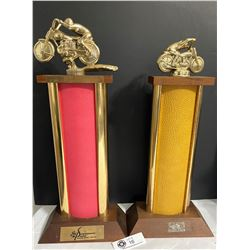 2 1968 Speedway Park Motorcycle Trophies