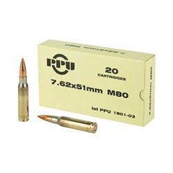 PPU 7.62X51 145GR M80 FMJBT - 100 Rds