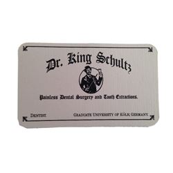 Dr. King Schultz (Christoph Waltz) Business Card Movie Props