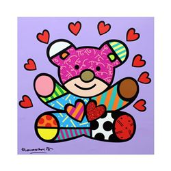 Romero Britto  Happy Girl  Hand Signed Limited Edition Giclee on Canvas; Authenticated