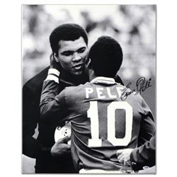 """Pele & Ali Hug"" Autographed Print on Gallery Wrapped Canvas, Hand Signed by Legendary Brazilian Foo"