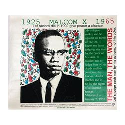 "Steve Kaufman (1960-2010), ""Malcolm X, two"" Hand Signed Hand Pulled silkscreen mixed media on Canvas"