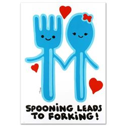 Spooning Leads to Forking  Limited Edition Lithograph (25  x 35 ) by Todd Goldman, Numbered and Han