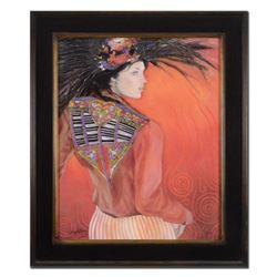 """Jean-Paul Loppo Martinez, """"Le Veste Brodee"""" Framed Limited Edition Textured Giclee on Board, Numbere"""