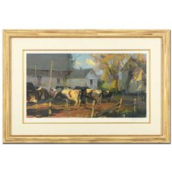 """Dan Gerhartz, """"Evening Holsteins"""" Framed Limited Edition, Numbered 44/195 and Hand Signed with Lette"""