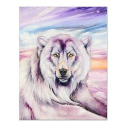 """Martin Katon, """"Purple Polar Bear"""" Original Oil Painting on Canvas, Hand Signed with Certificate of A"""