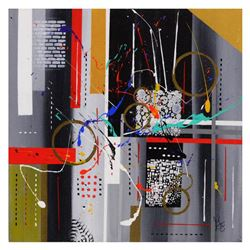 """George Marlowe, """"Linear"""" Hand Signed Original Acrylic Painting on Canvas with Certificate of Authent"""