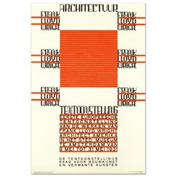 """RE Society, """"Architectuur, F.L. Wright"""" Hand Pulled Lithograph, Image Originally by Hendrikus T. Wij"""