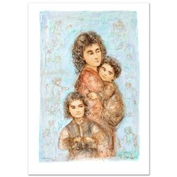 """""""Catherine and Children"""" Limited Edition Lithograph by Edna Hibel (1917-2014), Numbered and Hand Sig"""