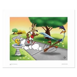 """""""Wile E and Road Runner Race"""" Numbered Limited Edition Giclee from Warner Bros, with Certificate of"""