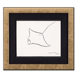 "Wyland, ""Manta Ray"" Framed Original Sketch, Hand Signed with Certificate of Authenticity."