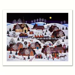 """Jane Wooster Scott, """"Jingle Bells and Carolers"""" Hand Signed Limited Edition Lithograph with Letter o"""