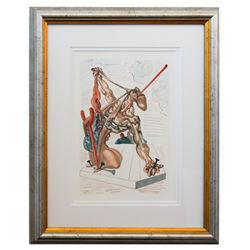 "Salvador Dali- Original Color Woodcut on B.F.K. Rives Paper ""Inferno 29"""