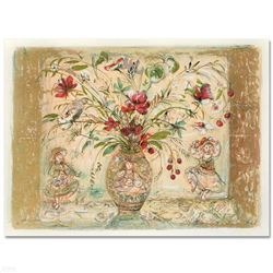 """""""Amy Rebecca's Floral Fantasy"""" Limited Edition Lithograph by Edna Hibel (1917-2014), Numbered and Ha"""