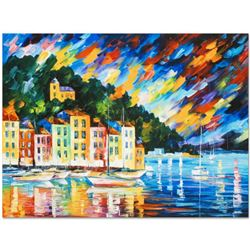 """Leonid Afremov (1955-2019) """"Portofino Harbor, Italy"""" Limited Edition Giclee on Canvas, Numbered and"""