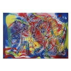 "Mark Kostabi, ""Power Play"" Mixed Media Original Painting; Hand Signed, with COA."