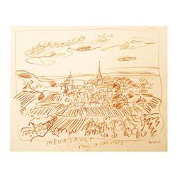 "Wayne Ensrud ""Meursault from St Christophe, Burgundy"" Pencil Original Artwork; Hand Signed; COA"