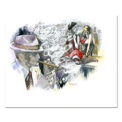 "Lena Sotskova, ""Burlesque 2"" Mixed Media Original Painting, Hand Signed and with COA."