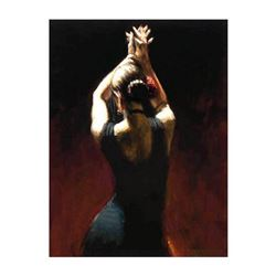 """Fabian Perez, """"Flamenco Dancer In Black"""" Hand Textured Limited Edition Giclee on Board. Hand Signed"""